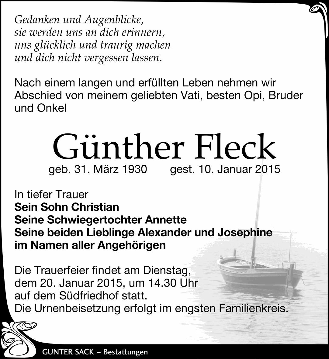 Traueranzeige Günther Fleck