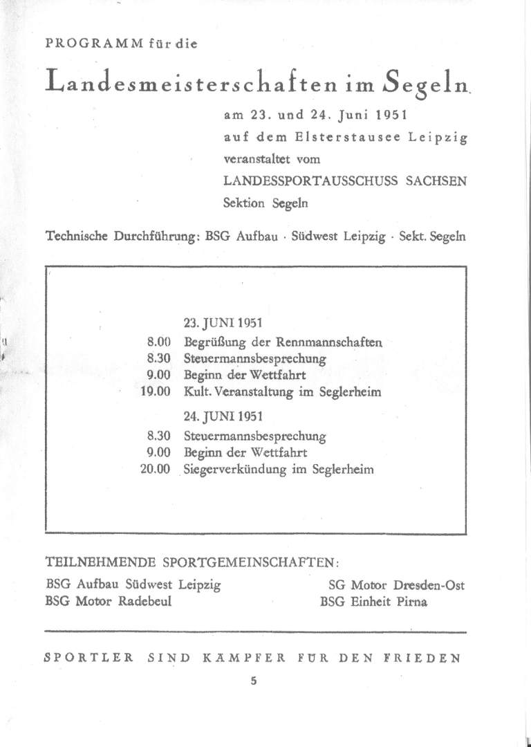 Landesmeisterschaft 1951 - Program