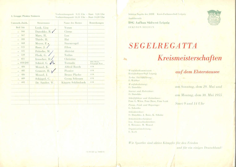 Kreismeisterschaften Elsterstausee 1955